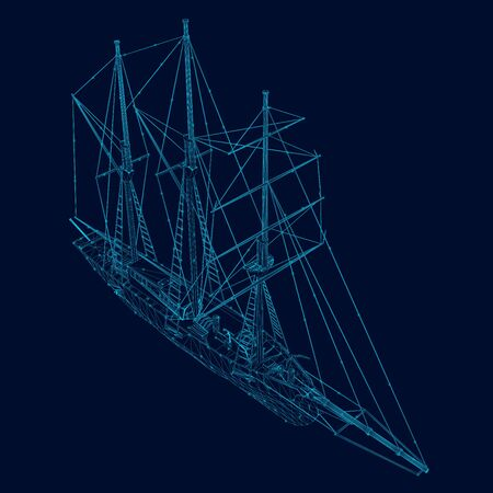 Wireframe of a sailing ship of blue lines with luminous lights on a dark background. View isometric. Vector illustration.