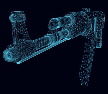 Wireframe of a  assault rifle made of blue lines with luminous lights on a dark background. View perspective. 3D. Vector illustration Illustration