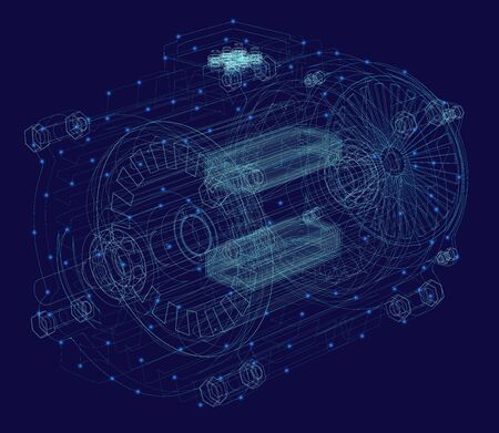 Engine wireframe made of blue lines with luminous lights on a dark background. View isometric. 3D. Vector illustration