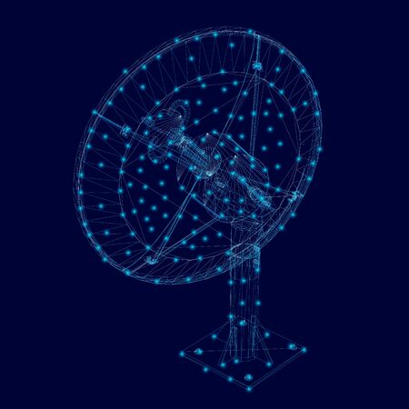 Wireframe of the polygonal satellite dish of blue lines with luminous lights on a dark background. View isometric. Vector illustration.