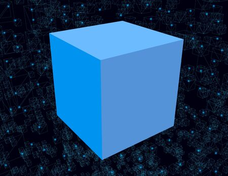 Abstract background with a blue cube and with many cube frames of blue lines with luminous lights on a dark background. 3D. Vector illustration