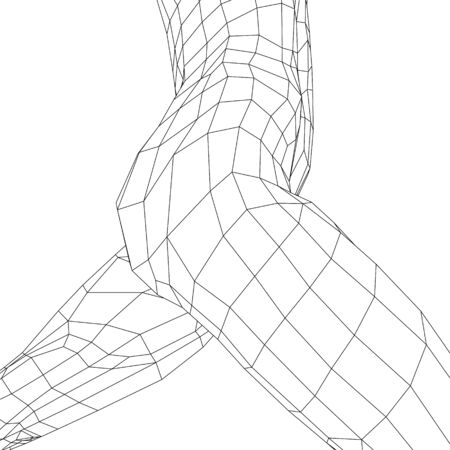 Torso of a naked running girl. Girl body wireframe made of black lines on a white background. Side view. 3D. Vector illustration Illustration