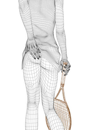 Wireframe of a girl in a skirt and with a tennis racket in hand. The tennis player stands with a naked booty. 3D. Vector illustration