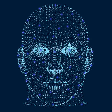 The head of a man is composed of many particles and glowing lights. Front view. Human head projection. Vector illustration