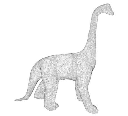 Dinosaur wireframe. Brachiosaurus with a long neck. 3D. Side view. Vector illustration Ilustracja
