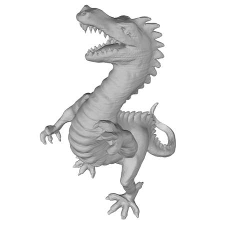 Polygonal angry dinosaur. Dinosaur Isolated On White Background. 3D. Vector illustration  イラスト・ベクター素材