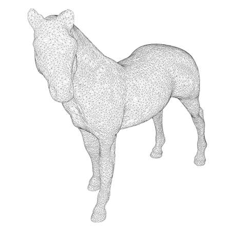 Horse wireframe made of black lines on a white background. Detailed horse from lines. 3D. Vector illustration