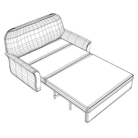 Wireframe of a folding sofa made of black lines on a white background. Isometric view. 3D. Vector illustration 向量圖像