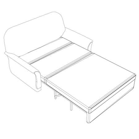 Contour of a folding sofa made of black lines on a white background. Isometric view. Vector illustration 向量圖像