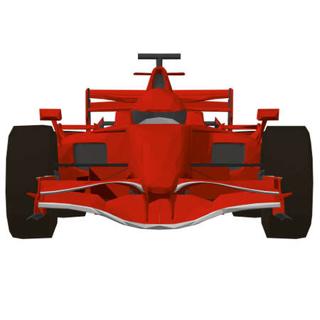 Low poly red racing car. Front view. 3D. Vector illustration