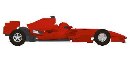 Low poly red racing car. Side view. 3D. Vector illustration