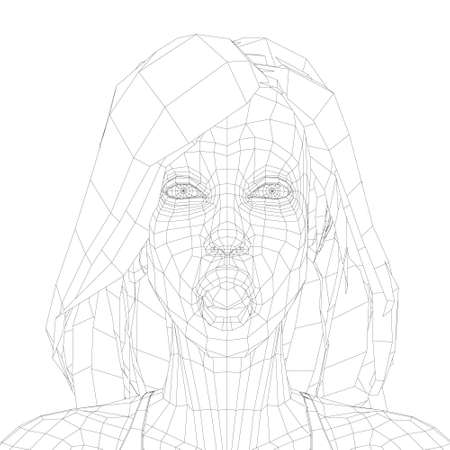 Low poly wireframe of a girl with long hair and a surprised face. The girl face with an open mouth. Front view. Vector illustration 向量圖像