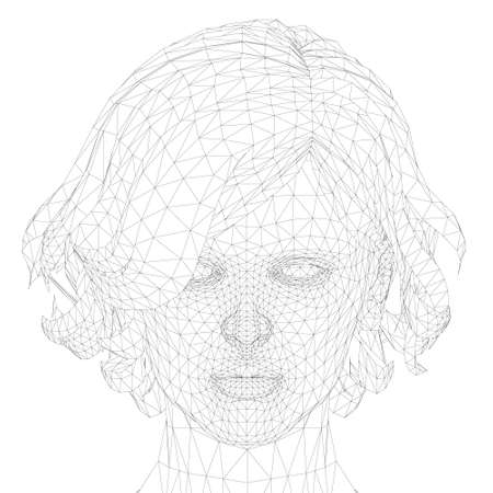 Low poly head wireframe of a girl with a short haircut. Front view. Vector illustration Illustration