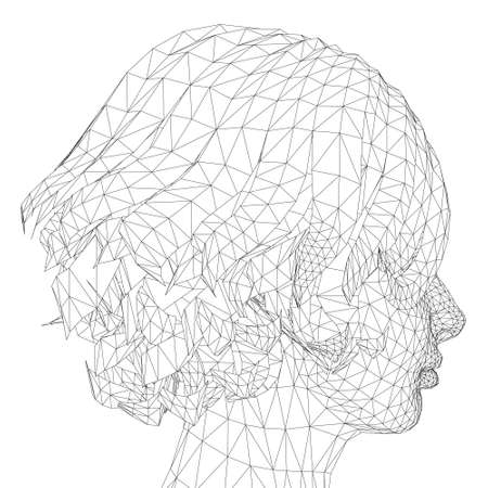 Low poly head wireframe of a girl with a short haircut. Side view. Vector illustration