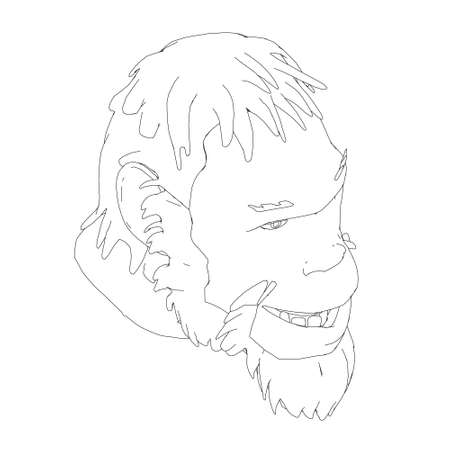 Contour head of a Neanderthal. Contour head of a prehistoric man. Isometric view. Vector illustration