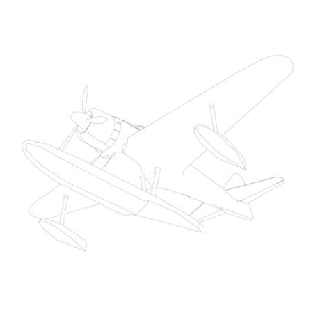 Airplane contour for landing on water. Bottom view. Vector illustration
