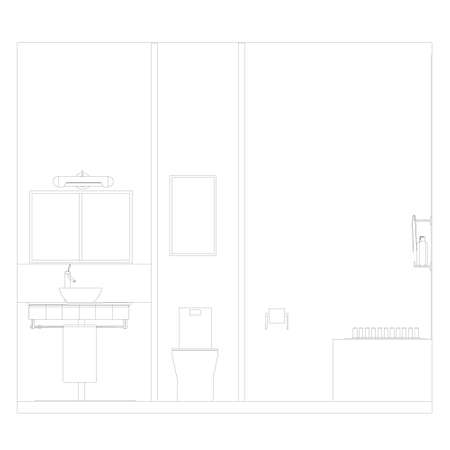 Contour of a bathroom interior from black lines on a white background. Front view. Vector illustration Vetores