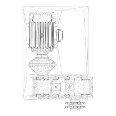 Industrial electric motor wireframe. View from above. 3D. Vector illustration