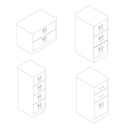 Set with outline office filing cabinets. Isometric view. Vector illustration 矢量图像