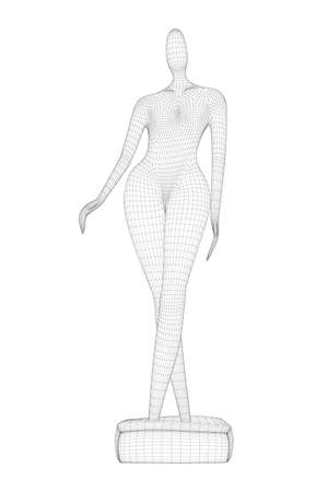 Wireframe of abstract female statue from black lines isolated on white background. 3D. Vector illustration