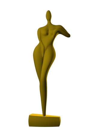 Abstract female statue. Golden statue of an abstract girl. 3D. Vector illustration