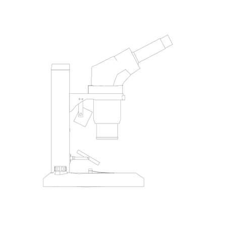 Microscope outline from black lines isolated on white background. Desktop microscope. Side view. Vector illustration