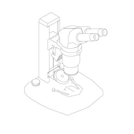Microscope outline from black lines isolated on white background. Desktop microscope. Isometric view. Vector illustration