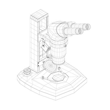 Wireframe of a microscope made of black lines isolated on a white background. Desktop microscope. Isometric view. 3D. Vector illustration
