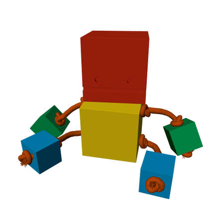 Children toy from multi-colored cubes tied with a rope. 3D. Vector illustration