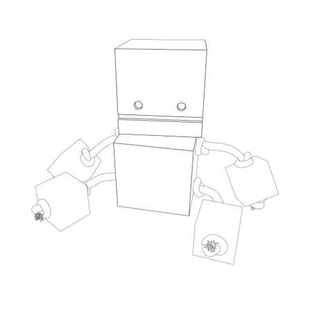 Outline of a child toy from black lines isolated on a white background. Vector illustration