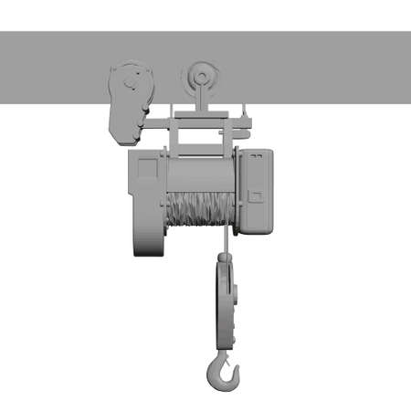 Low poly lifting stationary crane isolated on white background. 3D. Front view. Vector illustration
