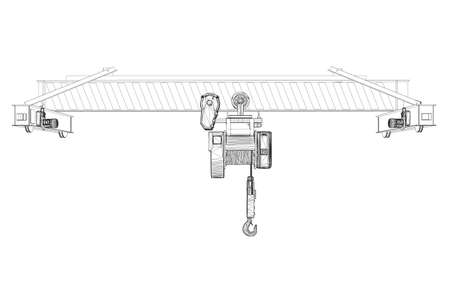 Wireframe of lifting stationary crane from black lines isolated on white background. 3D. Front view. Vector illustration Ilustração