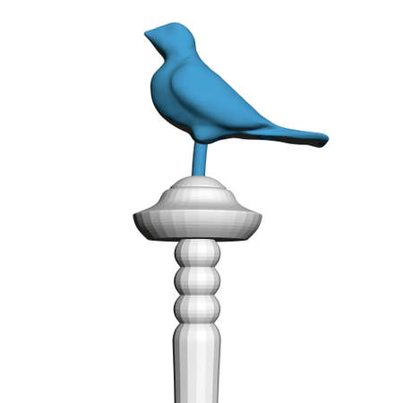 Polygonal blue bird on a decorative stick. 3D. Vector illustration Vettoriali