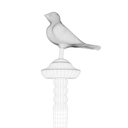 Bird wireframe on decorative plank isolated on white background. 3D. Vector illustration Vettoriali