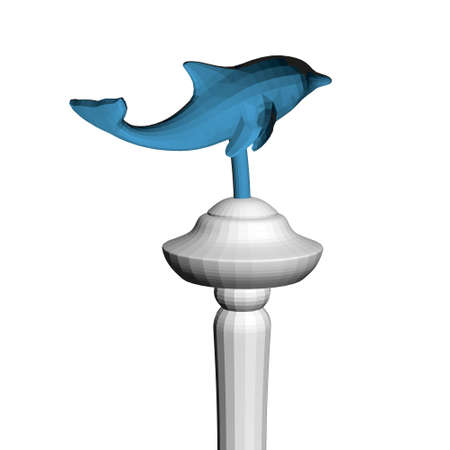 Model of a polygonal blue dolphin on a metal pipe. 3D. Vector illustration