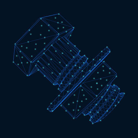 Bolt and nut wireframe made of blue lines with glowing lights on a dark background. Vector illustration