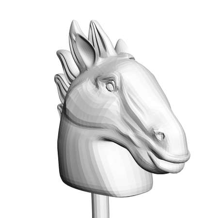 Polygonal horse head on a stick isolated on white background. 3D. Vector illustration