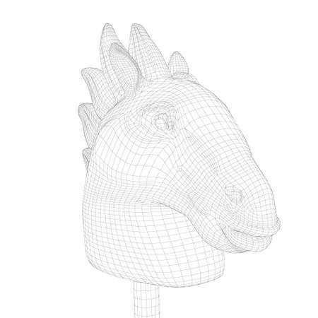 Horse head skeleton on a stick isolated on white background. 3D. Vector illustration