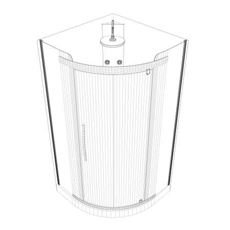 Shower cabin wrieframe from black lines isolated on white background. Isometric view. 3D. Vector illustration Vettoriali