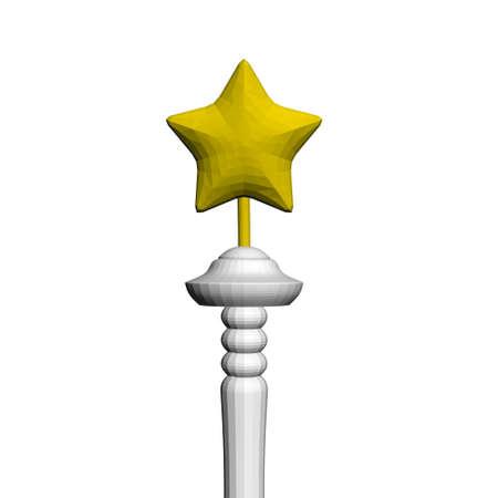 Polygonal yellow star on a stick. 3D. Vector illustration