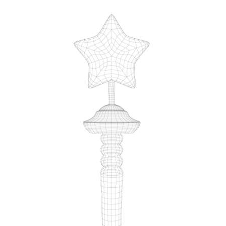 Polygonal wireframe star on a stick isolated on white background. 3D. Vector illustration Vettoriali