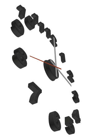 Clock without case isolated on white background. Perspective view. 3D. Vector illustration Vettoriali