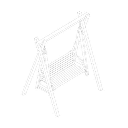 Outline of a wooden swing from black lines isolated on a white background. Isometric view. 3D. Vector illustration