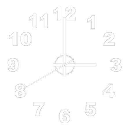 Outline of a watch without a case isolated on a white background. Front view. Vector illustration