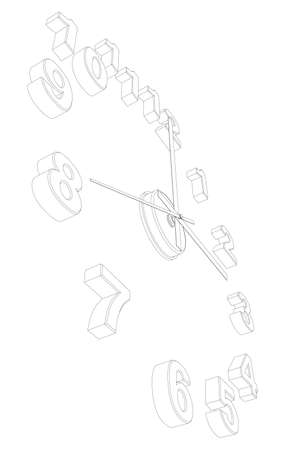 Outline of a watch without a case isolated on a white background. Perspective view. 3D. Vector illustration Vettoriali