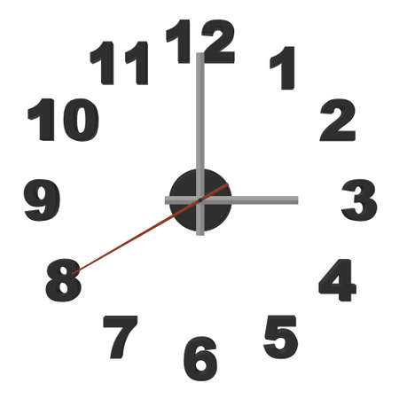 Clock without case isolated on white background. 3D. Vector illustration Vettoriali