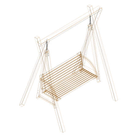 Wireframe of a wooden swing from brown lines isolated on white background. Isometric view. 3D. Vector illustration