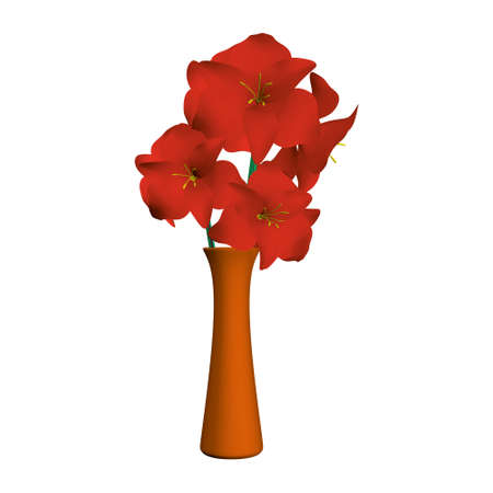 Orange vase with realistic red flowers. 3D. Vector illustration