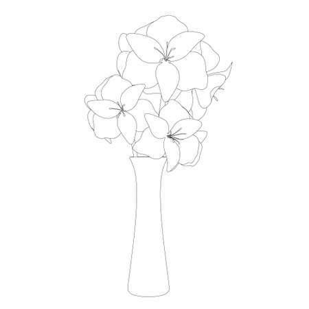 Contour of a vase with flowers from black lines isolated on white background. Vector illustration Vettoriali