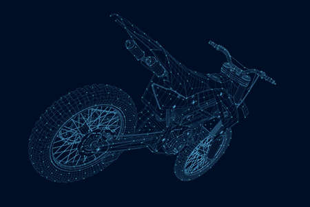 Wireframe of a sports motorcycle from blue lines with glowing lights isolated on a dark background. 3D. Vector illustration